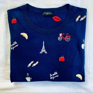 Talbots Paris Theme Embroidered Navy Sweater. MP